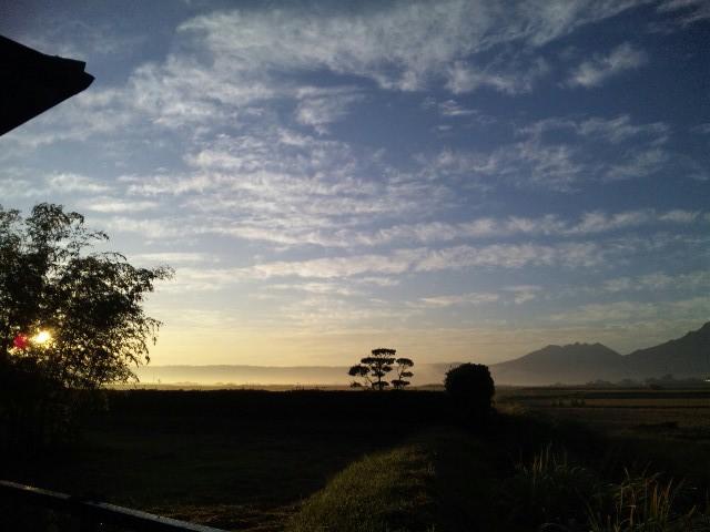 秋空の阿蘇山