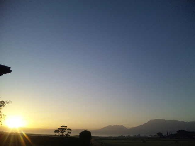 朝日と阿蘇山